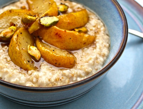 Brown Butter-Toasted Oatmeal with Roasted Pears