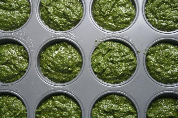 pesto in muffin tins