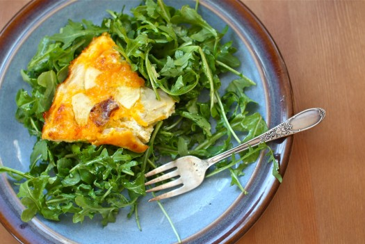 cheddar frittata with salad