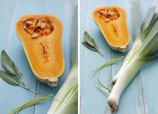 butternut squash and leeks