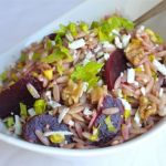 beet and orzo salad with feta