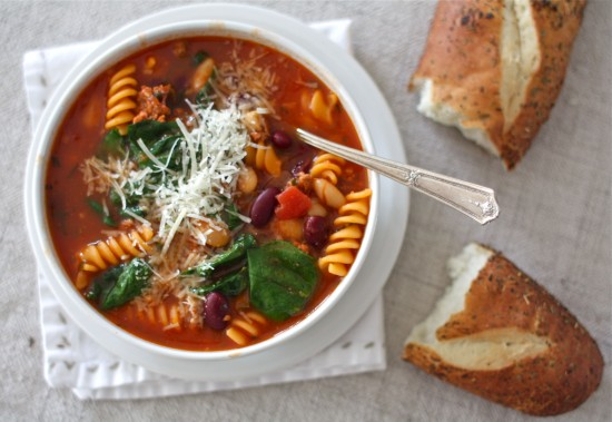 Soup from the Pantry (recipe: Sausage, Bean & Pasta Soup with Spinach ...