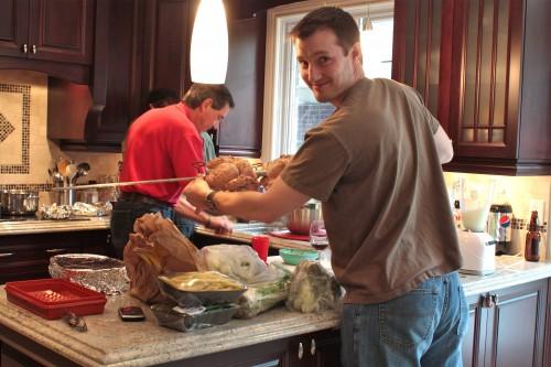 Men making dinner