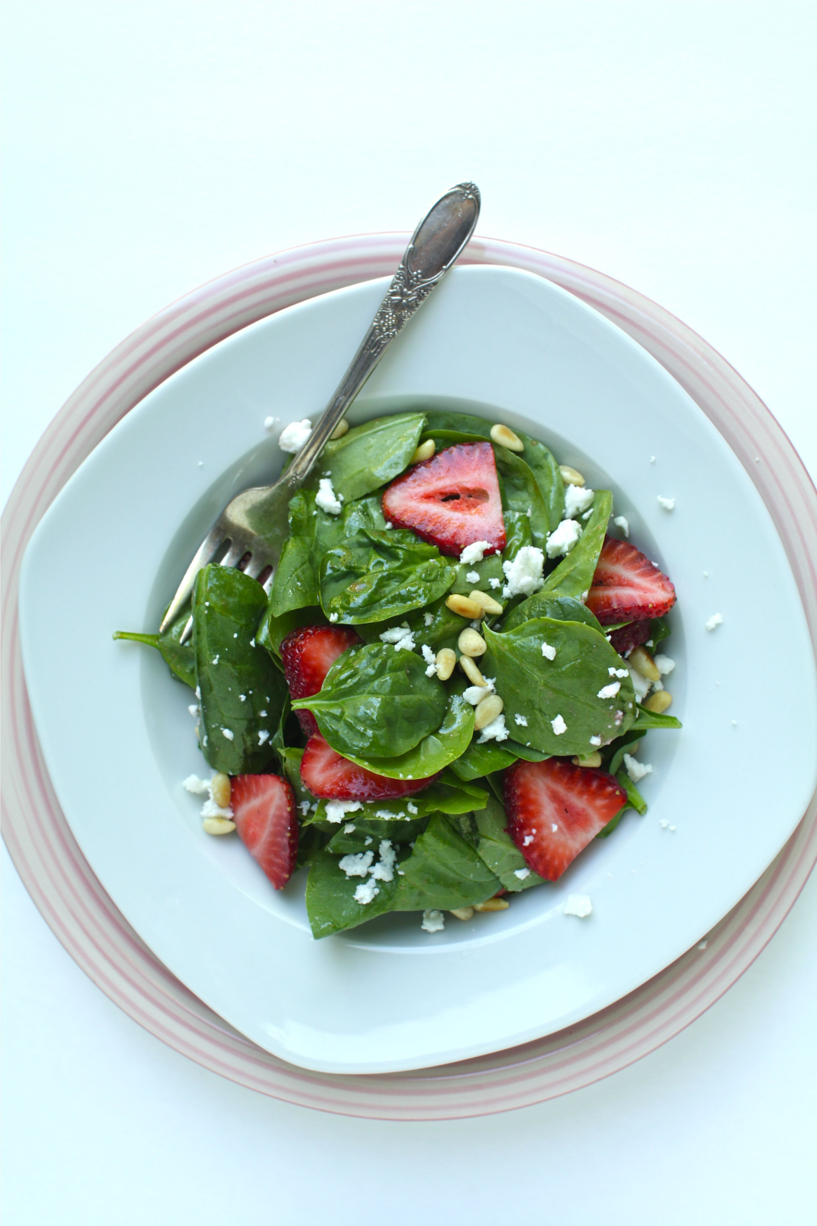 Homemade Strawberry Vinegar and a Spinach Salad with Feta & Pine Nuts