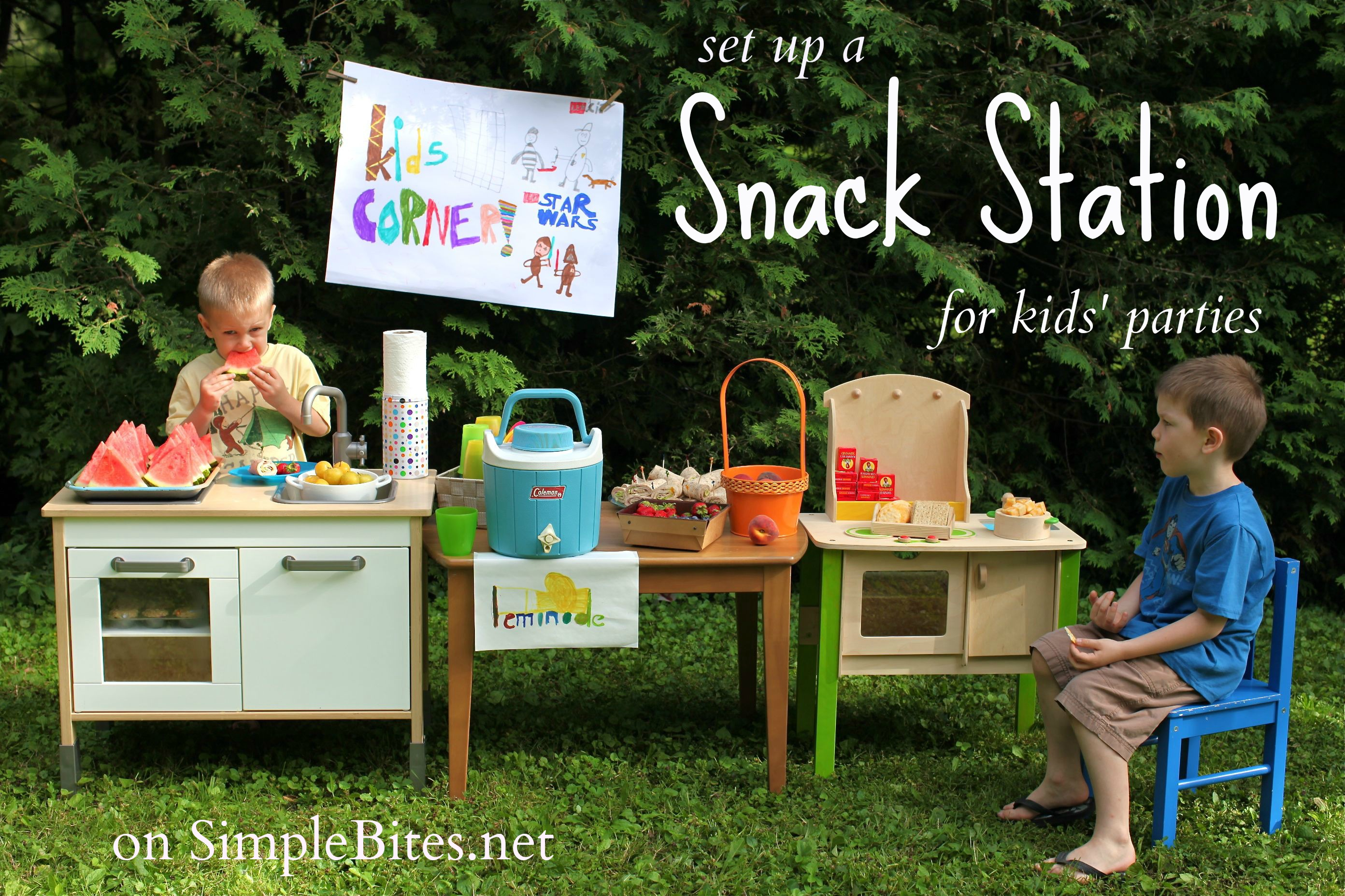set up a snacking station and more tips for a parent friendly kids party