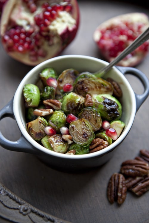 pomegranate-honey-glazed-brussels-sprouts on www.simplebites.net