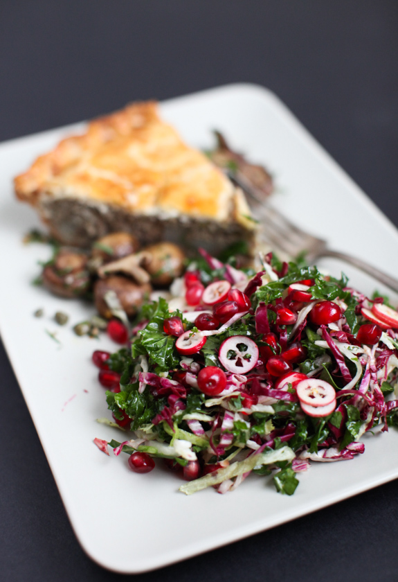 A Christmas salad of winter greens & seasonal fruit