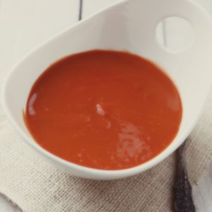 Roasted Red Pepper Soup with Parsley Cream via SimpleBites.net