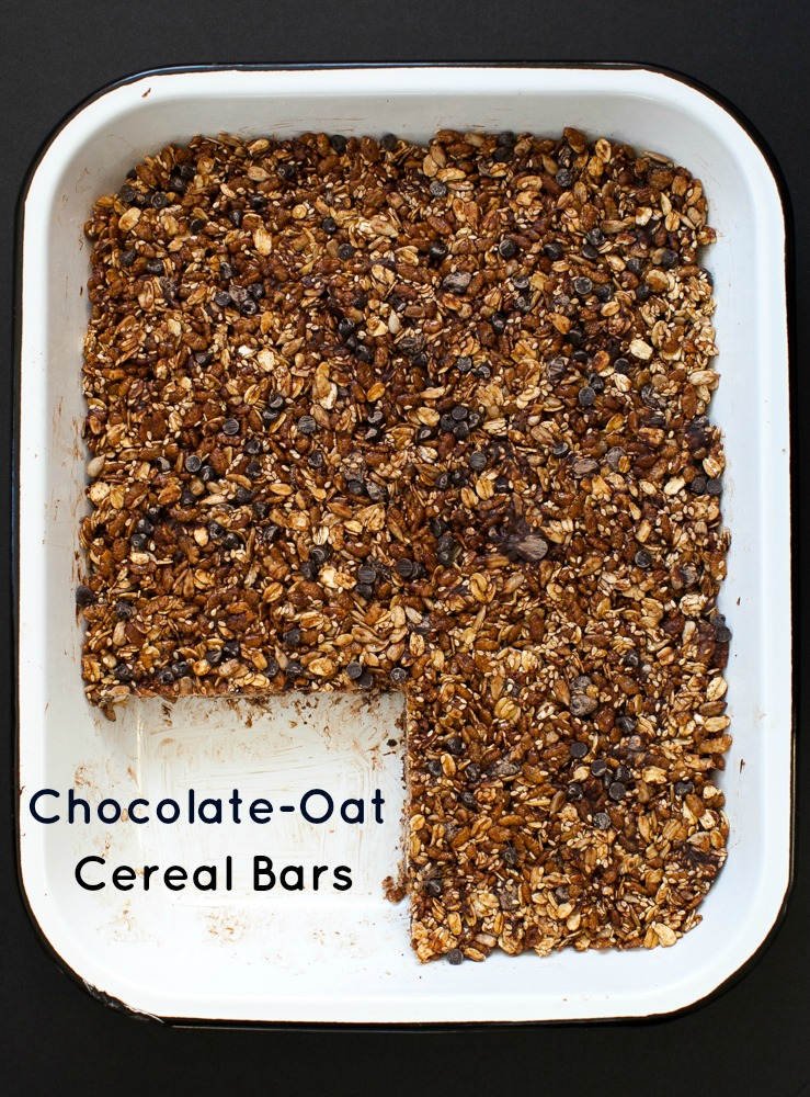 These chocolate-oat cereal bars are adapted from The Homemade Pantry ...