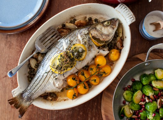 Bringing back sunday dinner new series herb roasted for Bass fish cooking