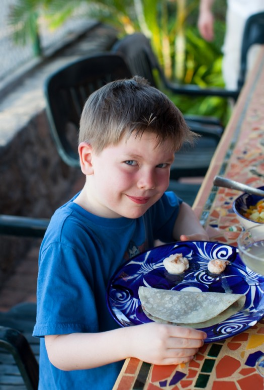 Noah with Mexican taco