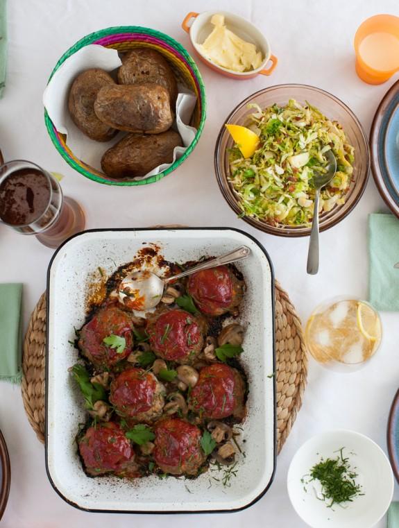 Sunday Dinner: mini tomato-glazed meatloaf