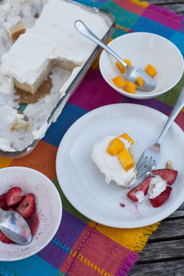 Coconut Cinnamon Tres Leches Cake with Mango on simplebites.net