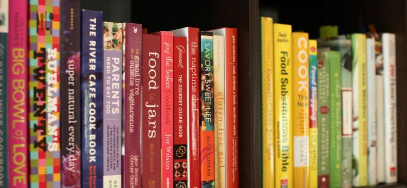 cookbooks on bookshelf