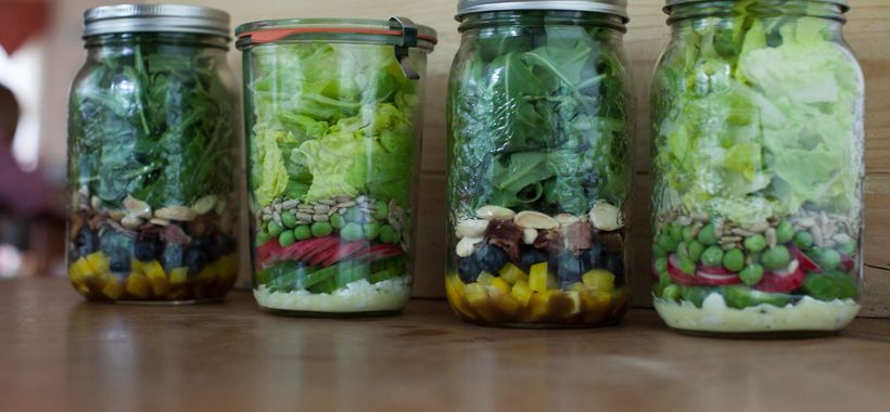 Ideas for salads in jars on simplebites.net