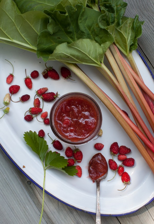 Strawberry-Rhubarb Honey Jam on www.simplebites.net #DIY #jam #homemade