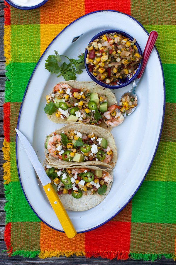 Grilled shrimp tacos with charred corn salsa on simplebites.net #recipe