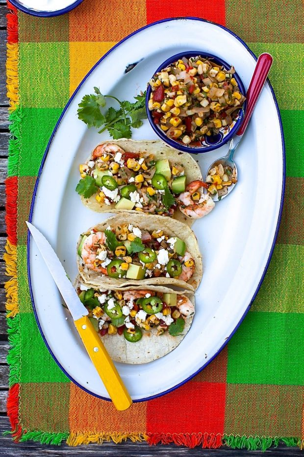 Grilled Shrimp Tacos with Charred Corn Salsa | Simple Bites