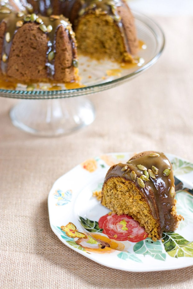 Oatmeal Pumpkin Bundt Cake with Maple Caramel Sauce
