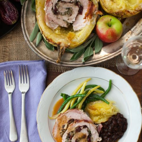 Squash-Roasted, Bacon-Wrapped Turkey Roulade With Cider