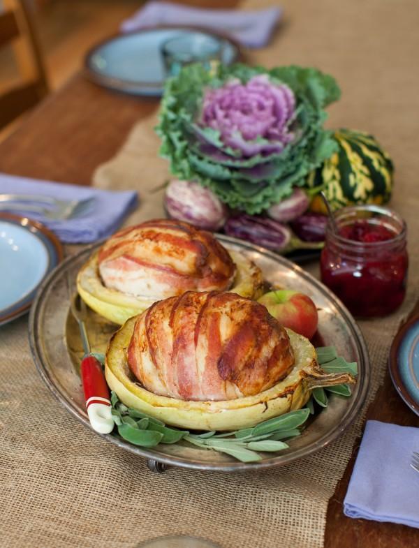 Squash-Roasted Bacon & Cranberry-Stuffed Turkey Roulade on www.simplebites.net #recipe #dinner #thanksgiving #turkey
