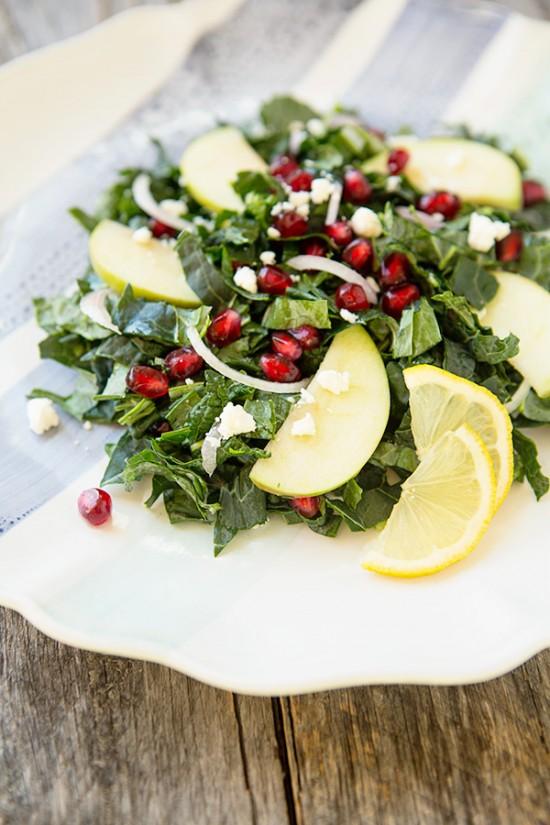 apple pomegranate kale salad on www.simplebites.net