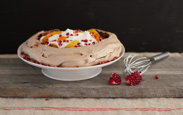 Chocolate Pavlova with Whipped Cream and Winter Fruits on www.simplebites.net #dessert #holiday