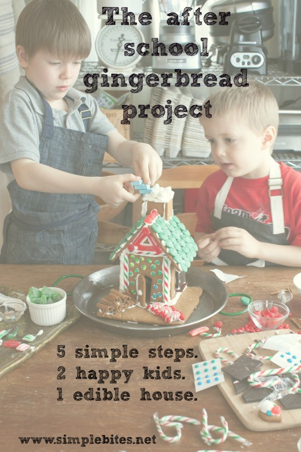The after school gingerbread project: 5 simple steps. 2 happy kids. 1 edible house.