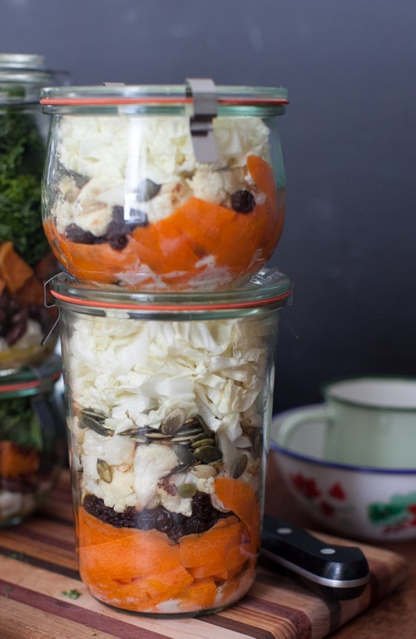Carrot, Cabbage and Roasted Cauliflower Salad