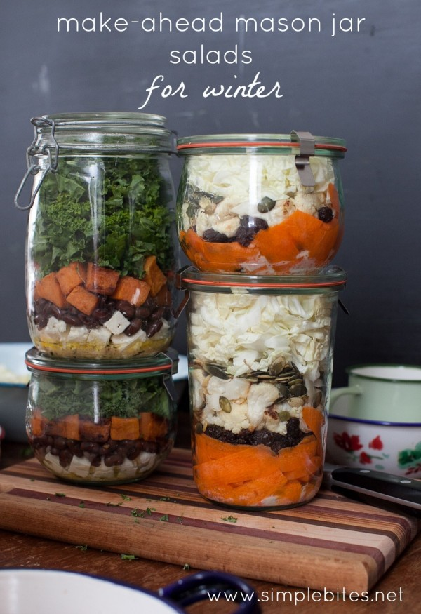 Make-ahead mason jar salads for winter. www.simplebites.net #salad #lunches #realfood