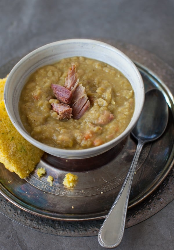 Slow Cooker Split Pea Soup with Ham | Simple Bites #soup #slowcooker