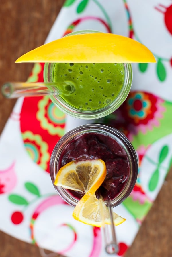 Two smoothie recipes: Meyer Lemon Blueberry Buzz and Green Pina Colada | Simple Bites  #recipe #smoothies