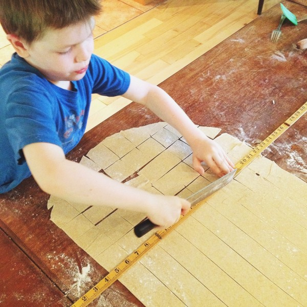 Noah cutting crackers | Simple Bites #kidsinthekitchen