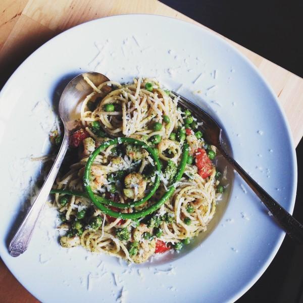 Pasta with garlic scape pesto