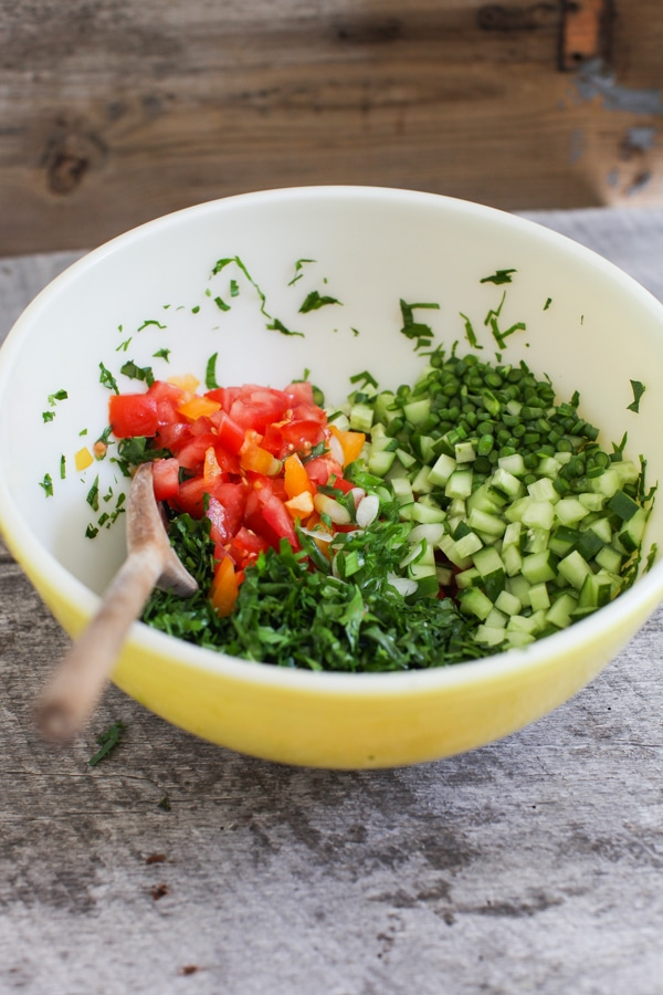 Summer vegetable tabbouleh salad