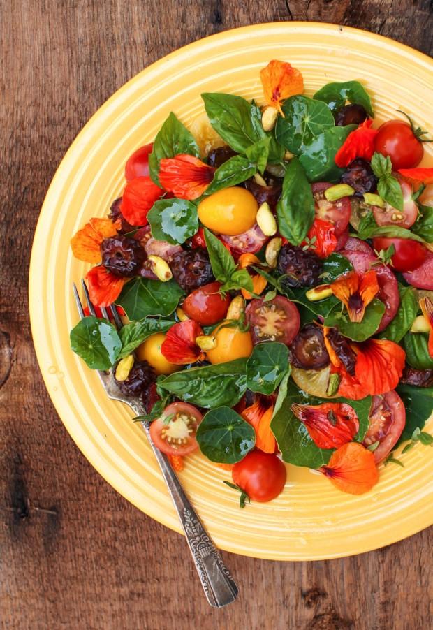 Tomato Nasturtium Salad with Dates and Pistachios   Simple Bites #recipe #salad #vegetarian #vegan