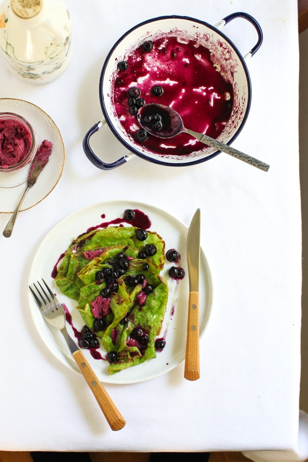 Spinach Crepes with Maple-Stewed Blueberries | Simple Bites #breakfast #brunch #recipe