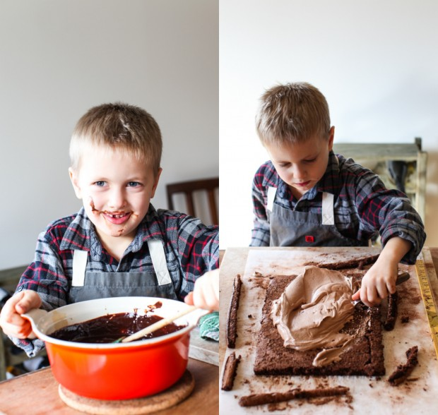 Bûche de Noël / Yule Log / Chocolate Hazelnut Roll | Simple Bites #kidsinthekitchen #baking