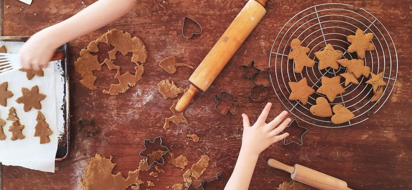 rolling gingerbread with kids