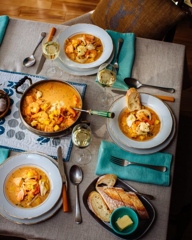 Seafood Chowder: Brown Eggs & Jam Jars