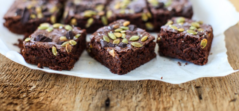 Pumpkin Seed Vegan Brownies | Simple Bites #recipe #vegan #brownies #baking #sweets