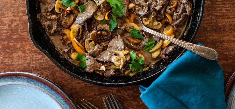 Beef Stroganoff with Roasted Mushrooms & Meyer Lemons | Simple Bites #dinner