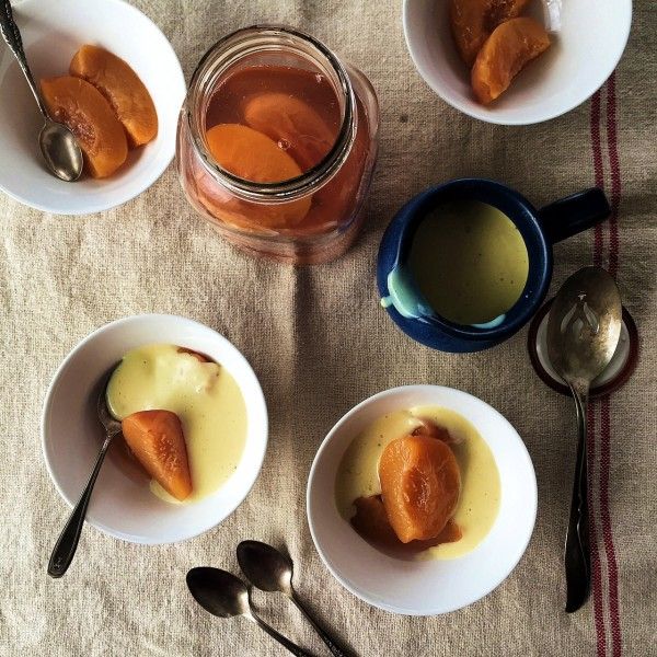 peaches & custard dessert