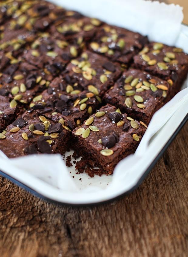 Pumpkin Seed Vegan Brownies | Simple Bites #recipe #vegan #brownies #baking #sweets