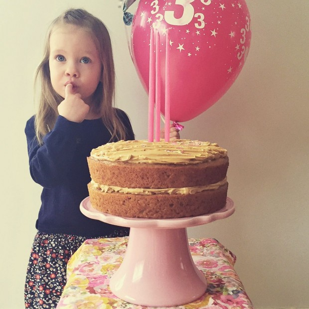 Clara turns 3 with cake