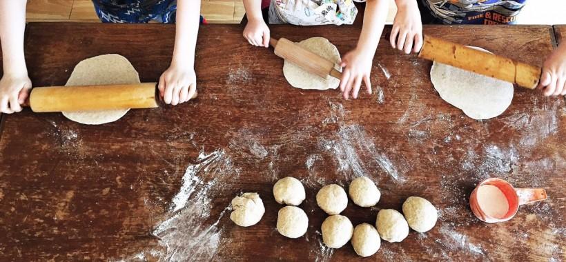Rolling flour tortillas