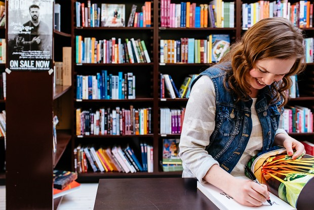 Aimee signing books