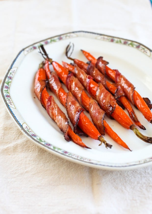 Maple Glazed Bacon-Wrapped Roasted Carrots :: Simple Bites #recipe