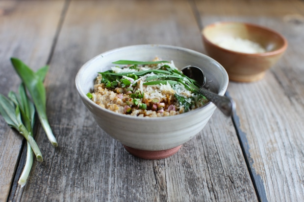 Savoury Steel-Cut Oats with Ramps, Parmesan and Tamari :: Simple Bites #breakfast #vegan #recipe
