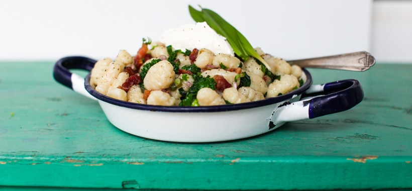 Sour Cream and Ramp Gnocchi with Sautéed Kale